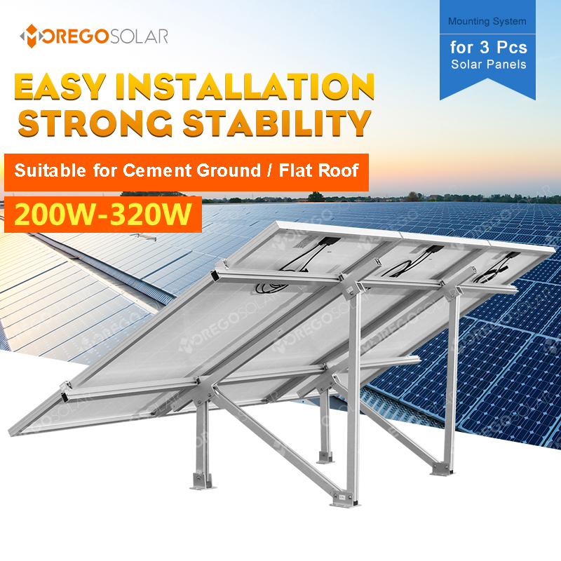 Light weight PV solar panel mounting system with 3pcs solar panels