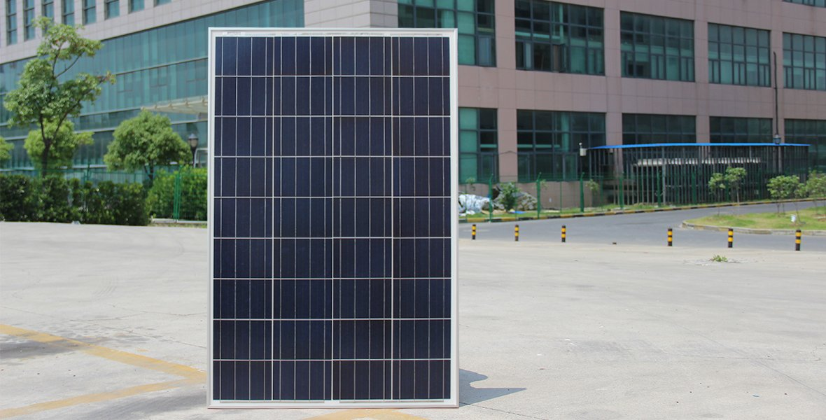 poly solar panel 100w real shot front side